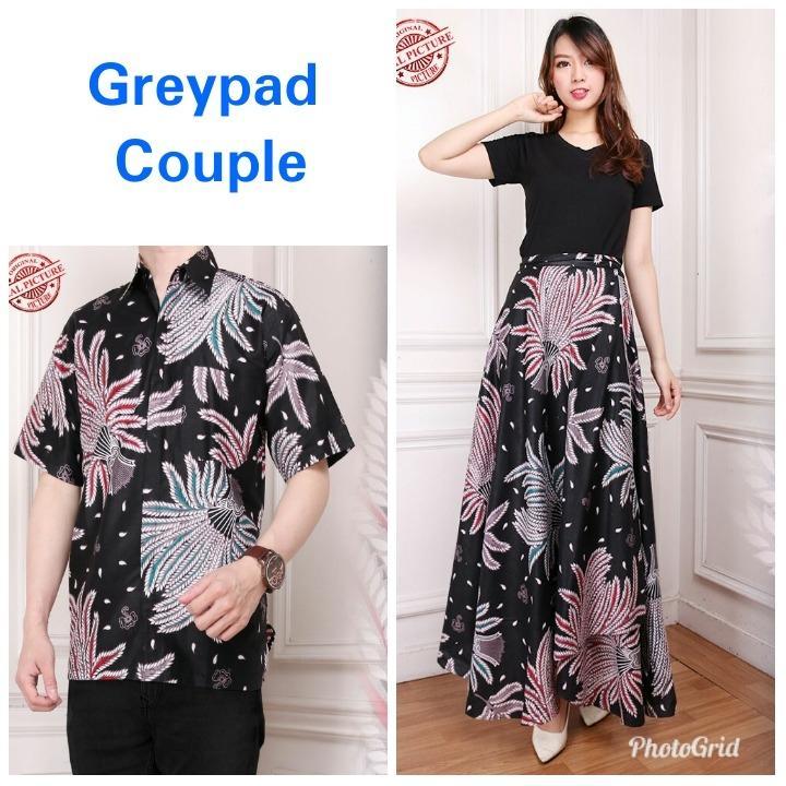 Glow fashion Couple batik rok lilit maxi panjang wanita jumbo long skirt dan atasan kemeja pria