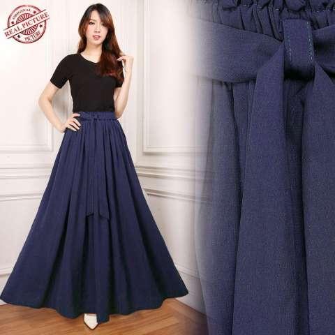Vip By Lapetiteladyy Slit Maxi Skirt Hitam. Source · Glow fashion Rok maxi panjang wanita