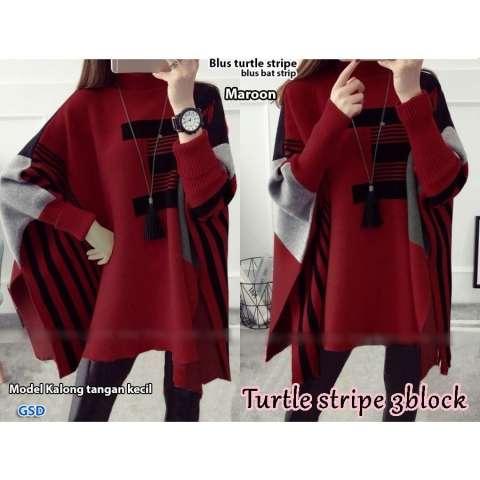 GSD - Baju Wanita / Baju Atasan / Blouse Wanita / Baju Korea / Blus Casual  Bat Stripe 2
