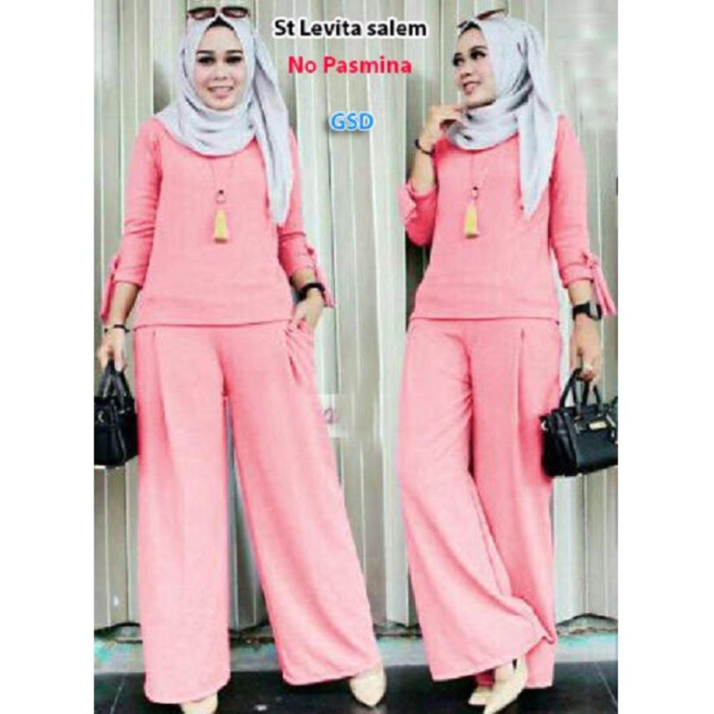 Berat (550gr) GSD-Setelan Baju Muslim Polos Wanita-Set Celana F 101 Salem