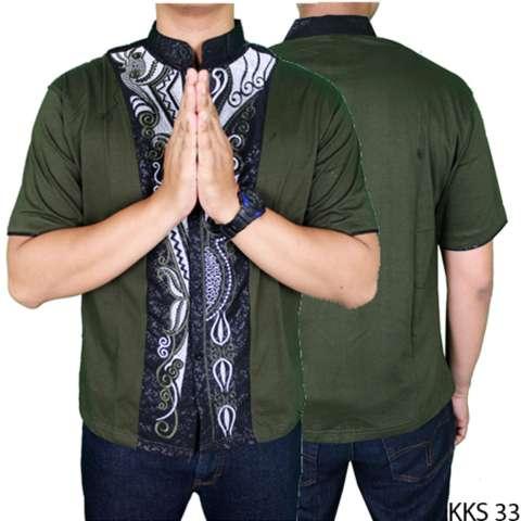 Terbaru Source · Gudang Fashion Baju Koko Elegan Lengan Pendek Hijau Lumut .