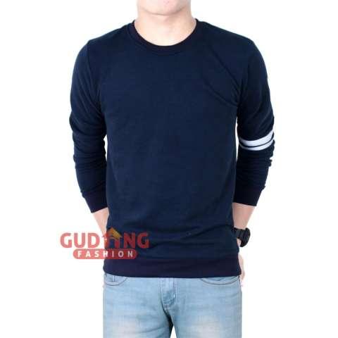 Gudang Fashion - Kaos Lengan Panjang Berkaret - Dongker