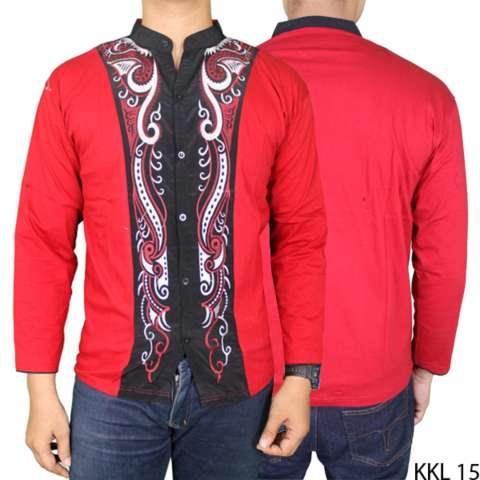 Gudang Fashion - Kemeja Koko Panjang Laki - Merah 2
