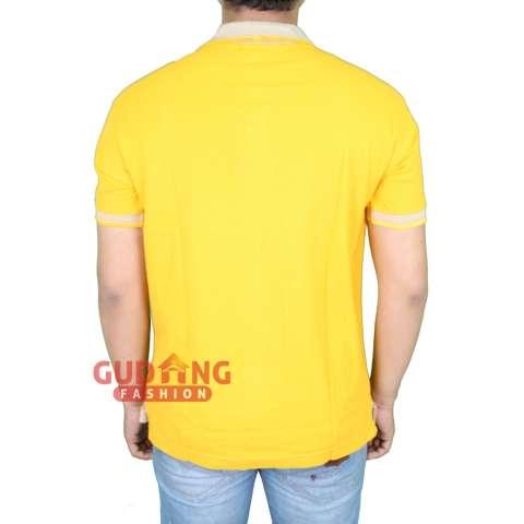 Gudang Fashion - Polo Shirt Lengan Pendek Pria - Kuning Mangga Kerah Abu 746d1a8e27