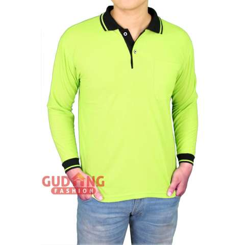 ... Beli Gudang Fashion Polo Shirt Polos Pria Panjang Hijau Pupus Kerah Hitam Harga