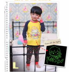 gw 118l pakaian anak laki laki / baju setelan kaos piyama glow in the dark
