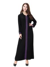 HANYIMIDOO TH902 untuk Wanita Muslim Lady Lengan Panjang O Leher Gaun Maksi Wanita Robe Nasional Retro Gaya Pakaian (Ungu) -Intl
