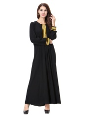 HANYIMIDOO TH903 untuk Wanita Muslim Lady Lengan Panjang O Leher Gaun Maksi Wanita Robe Nasional Retro Gaya Pakaian (Emas) -Intl