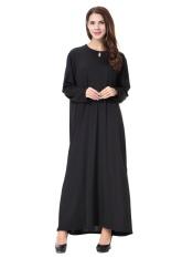 HANYIMIDOO TH905 untuk Wanita Muslim Lady Lengan Panjang O Leher Gaun Maksi Wanita Robe Nasional Retro Gaya Pakaian (Hitam) -Intl