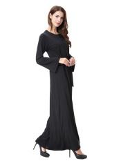 HANYIMIDOO TH906 untuk Wanita Muslim Lady Lengan Panjang O Leher Gaun Maksi Wanita Robe Nasional Retro Gaya Pakaian (Hitam) -Intl