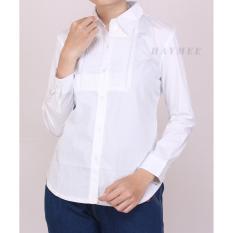 HaymeeStore Kemeja Putih Polos Wanita Baju Kantor Cewek Formal Atasan Kerja cewe Bahan Katun Strecth