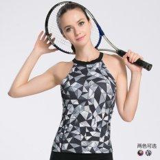 Kualitas Tinggi Elastis Cepat Kering Olahraga Yoga Cetak Tank Tops Kebugaran Wanita Menjalankan Latihan Gym Tanpa Lengan Kompresi Shirt Vest (grey) -Intl