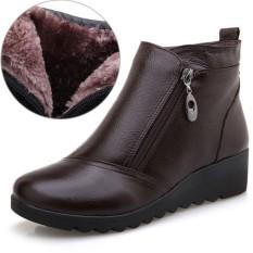 Tinggi Kualitas Modis Wanita Asli Kulit Sepatu Bot Salju Musim Dingin Wanita Wedge Ritsleting Pergelangan Kaki Sepatu Ukuran Besar-Internasional