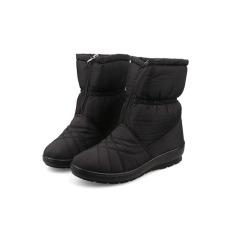 Berkualitas Tinggi Wanita Salju Boots Tahan Air Musim Dingin Hangat Plush Sepatu Wanita Ukuran Besar (Hitam)-Intl