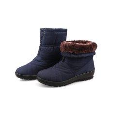 Berkualitas tinggi Wanita Snow Boots Tahan Air Musim Dingin Hangat Plush Sepatu   Wanita Ukuran Besar (Biru) -Intl