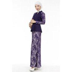 Seksi Penjualan Wanita Renda Ramping Panjang Gaun Baju Kurung Arab Loose-Fittingclothing Pakaian (Ungu)-Internasional