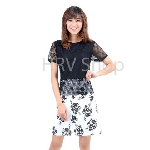 HRV Shop Dress Wanita Flower - Hitam / Dress Pesta / Dress Korea / Dress Wanita