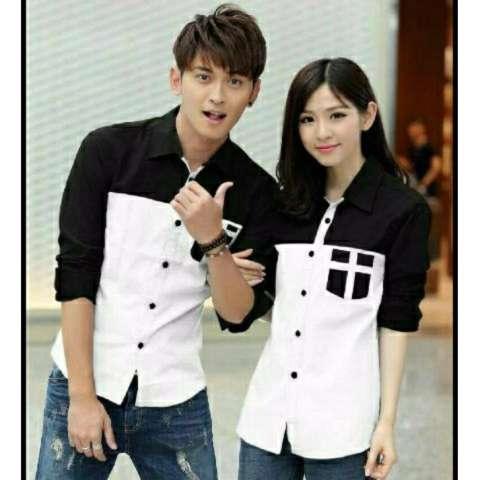 H~Shico Kemeja Couple AVERY Putih Kemeja Pasangan Baju Pasangan KEMEJA