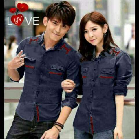 H~Shico Kemeja Couple LOVE LIGHT ( Navi Denim )