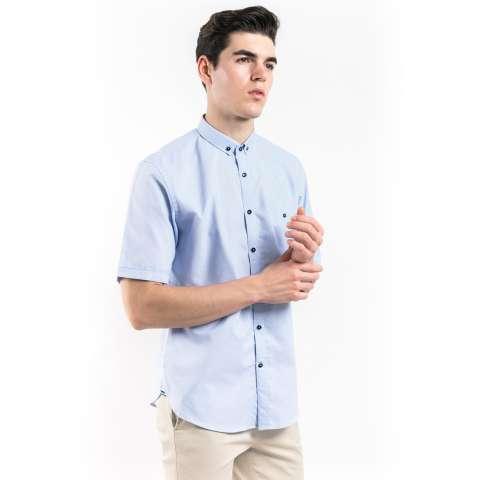 Icarius Short Sleeves Plain Shirt with Button-Down Collar