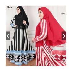IndonesiaHeritage PROMO SALE Gamis Syari Pesta Jersey + Hijab Bergo - Baju Kondangan Muslimah Busui Resleting Depan - Fashion Busana Muslim Terbaru - ihzahra