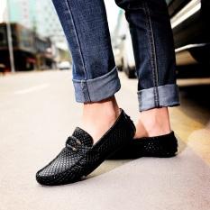 Inggris Motif Kulit Ular Sepatu SLIP ON Pria Sepatu Kulit Kacang (黑凤凰 (Di Dalam Dan Di Luar Murni Lapisan Pertama Kulit))