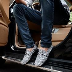 Inggris Motif Kulit Ular Sepatu SLIP ON Pria Sepatu Kulit Kacang (Pola Naga Abu-Abu (Di Dalam Dan Di Luar Murni Lapisan Pertama Kulit))