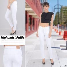 INN - Celana Jeans Haigh Waist Berbahan Soft jeans Denim Street - Putih