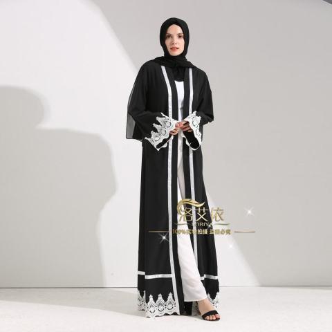Islam Wanita Maxi Jubah Muslim Gaun Panjang Terbuka Abaya Kardigan Berenda Ramadan Kimono Gaun-Intl 1