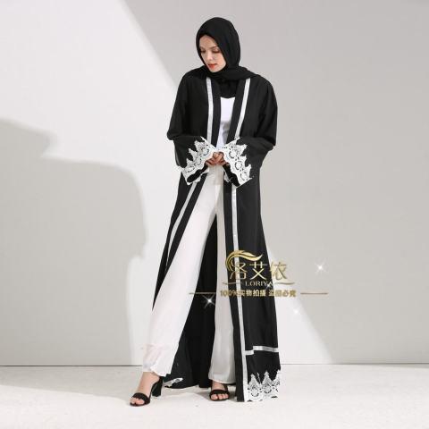 Islam Wanita Maxi Jubah Muslim Gaun Panjang Terbuka Abaya Kardigan Berenda Ramadan Kimono Gaun-Intl 2