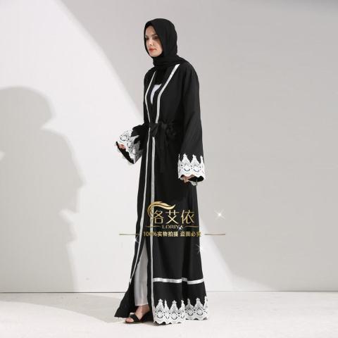 Islam Wanita Maxi Jubah Muslim Gaun Panjang Terbuka Abaya Kardigan Berenda Ramadan Kimono Gaun-Intl 4
