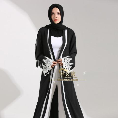 Islam Wanita Maxi Jubah Muslim Gaun Panjang Terbuka Abaya Kardigan Berenda Ramadan Kimono Gaun-Intl 5