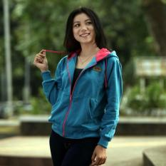 Jacket Wanita Hodie - Jacket Hodie Women Blue Tourqis - Fleece