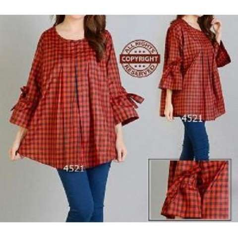 ... cewek blouse wanita stelanwanita VIANITA navy Source Jakarta Couple Blouse Jumbo Salwa Kotak Merah Blouse JUmbo