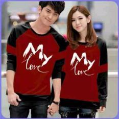 Jakarta Couple - Sweater Couple My Love Maroon Hitam  Baju Couple  Sweater Pasangan Murah