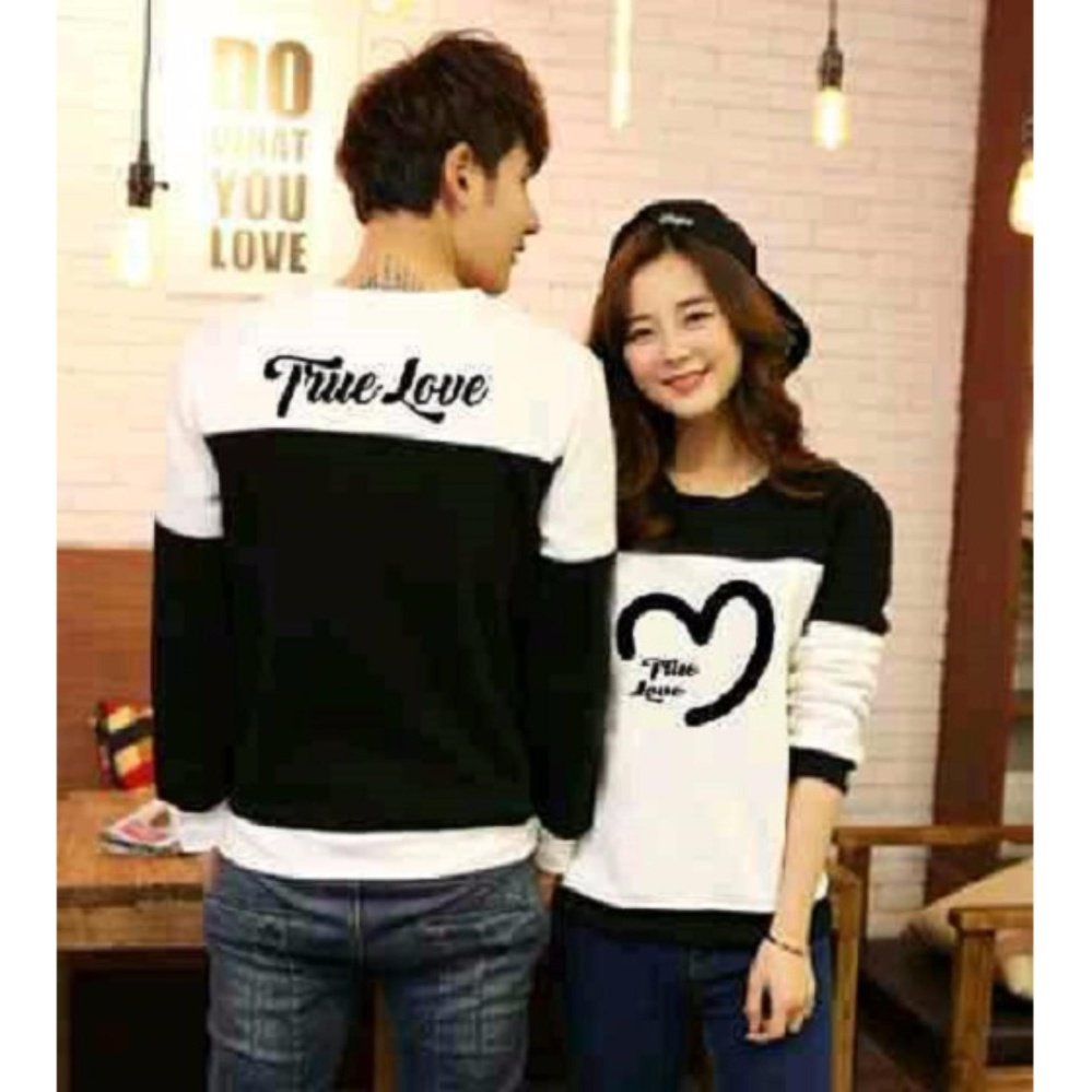 Jakarta Couple Sweater Couple True Love Hitam Putih