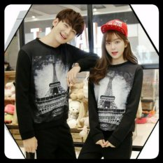 Jakarta Couple - Sweater Pasangan New Paris HItam / Sweater Kapel / Baju Kapel Murah / Sweater Couple