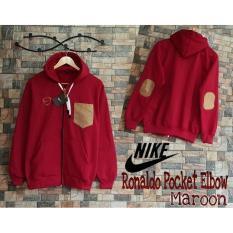 Jaket Ronaldo Pocket Elbow Maroon / Jaket Distro Pria Cowok Murah / Jaket Harian Pria / Jaket Hoodie Pria - Kuliah Kampus