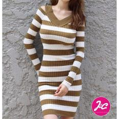 J&C Pakaian Wanita Casual Dress Rajut Stripe Knit - Coklat