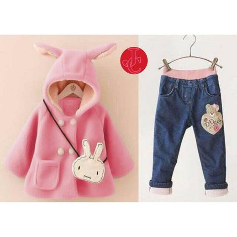 Vrichel Collection Jaket Wanita Bear & Bunny (Biru).