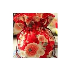Jepang Shop Japanese Chirimen Goldfish Dompet Ponsel Tas Kosmetik KINCHAKU HANA-花-Bunga (MERAH) 巾着袋日本-Intl