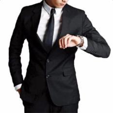 Jas Pria Formal Full Black - Kancing Dua