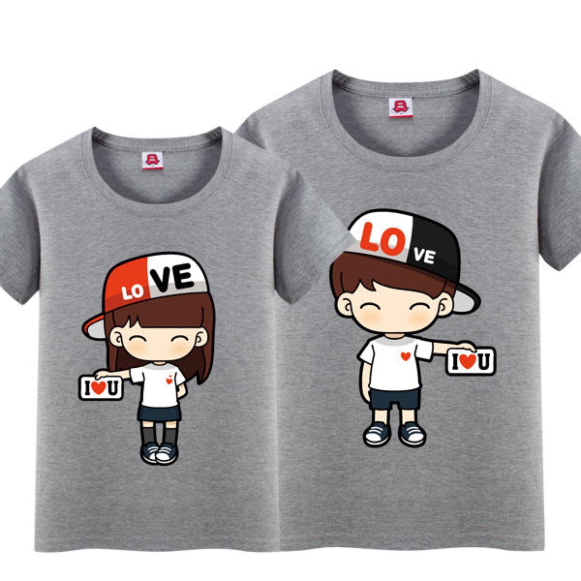 JC - Kaos Couple Topi Love Model Terbaru / Tshit Couple / Baju Pasangan
