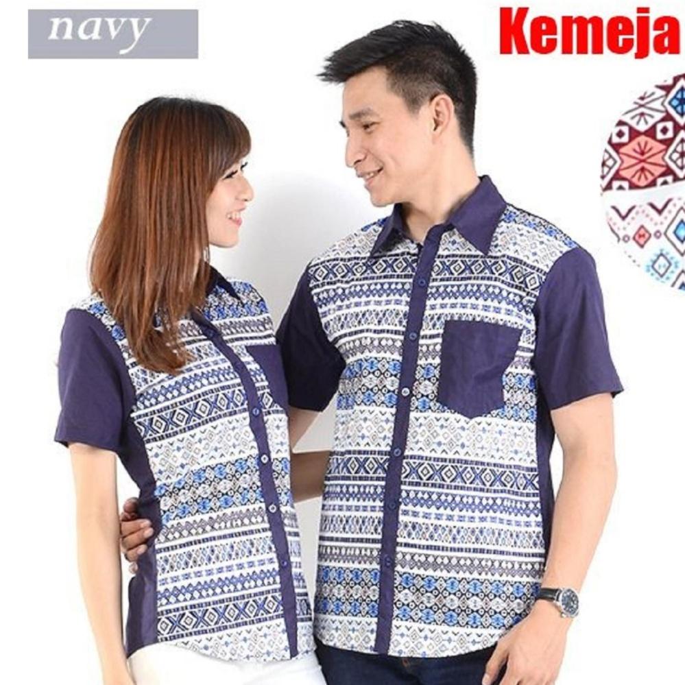 JC- Kemeja Pasangan Rami PD 01 Navy Kemeja Couple Baju Pasangan Kemeja Kompak