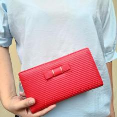 JCF Multifungsi Dompet Clutch Wanita Fashion Branded PU Leather Import - Alice Red Bagus Dan Mewah