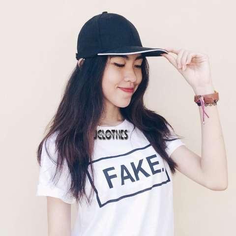 JCLOTHES Kaos Cewe / Tumblr Tee / Kaos Wanita Lengan Pendek Fake - Putih