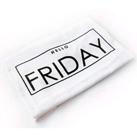 JCLOTHES Kaos Cewe / Tumblr Tee / Kaos Wanita Lengan Pendek Hello Friday - Putih