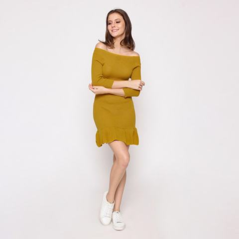 Jfashion Bodycon Dress Rajut Tangan 3/4 Rumbai - Kimberly