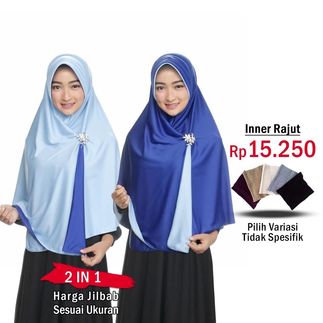 Jilbab 2 Warna Fashion Muslim Terbaru Wanita Kekinian Model Sekarang Model  Jaman Now Jilbab Bolak Balik ab88a4e536