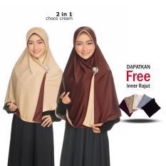 Jilbab 2 Warna Zannah Hijab Kerudung Syari Bolak Balik Instan Polos Khimar Panjang untuk Atasan Wanita Muslimah Jaman Now Terbaru Paling Laris + Free Inner Rajut Anti Pusing
